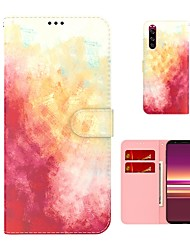 cheap -Phone Case For Sony Full Body Case Sony Xperia 5 Xperia L4 Shockproof Dustproof Color Gradient PU Leather TPU