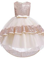 cheap -Ball Gown Asymmetrical Flower Girl Dresses Wedding Satin Sleeveless Jewel Neck with Sash / Ribbon