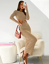 cheap -Women's Sheath Dress Maxi long Dress Fabric: Knit Polyester 95% Spandex 5% Maximum code weight: 0.32kg khaki Black Brown Long Sleeve Solid Color Spring Summer Casual / Daily Slim 2021 S M L