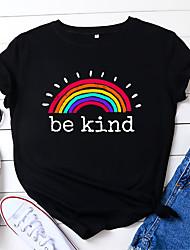 cheap -Women's Be kind T shirt Rainbow Print Round Neck Basic Tops Blue Yellow Blushing Pink