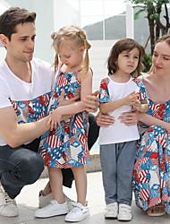 cheap -Family Look Blue Daily Flag Print Short Sleeve Knee-length Family Sets
