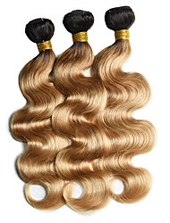 cheap -Ishow 2 Bundles Human Hair Weaves 8A Quality Hair Color Body Wave 1B27# Hair Curtain 100% Human Peruvian Wig 2 Pieces Combination Set 10-24 Inch