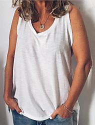 cheap -Women's Tank Top Plain V Neck Basic Streetwear Tops White Blue Red