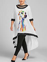 cheap -Women's Plus Size Dress Swing Dress Maxi long Dress 3/4 Length Sleeve Dog Graphic Sequins Casual Summer White Wine Black XL XXL 3XL 4XL 5XL