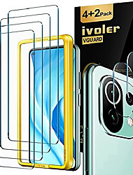 cheap -ivoler 4 pieces tempered glass protective film compatible for xiaomi mi 11 lite 4g and 5g, with 2 pieces camera bulletproof glass film and positioning aid, 9h hardness, anti-scratch, anti-bubbles