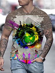 cheap -Men's Unisex Tee T shirt Shirt 3D Print Graphic Prints Football Soccer Football player Print Short Sleeve Daily Tops Casual Designer Big and Tall Brown / Summer
