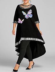 cheap -Women's Plus Size Dress Swing Dress Maxi long Dress 3/4 Length Sleeve Graphic Butterfly Sequins Casual Summer White Wine Black XL XXL 3XL 4XL 5XL