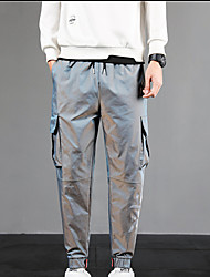 cheap -Men's Chino Soft Pants Going out Work Pants Solid Color Ankle-Length Low Waist Gray Green Wine Silver Royal Blue