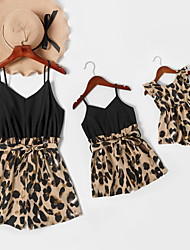 cheap -Mommy and Me Romper Leopard Patchwork Black Sleeveless Daily Matching Outfits / Print