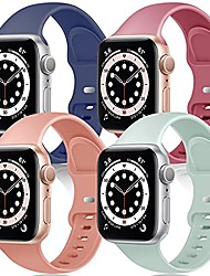 cheap -tra 4 pack sport silicone band compatible for apple watch band 38mm 40mm 42mm 44mm, soft replacement strap wristband accessory for iwatch series se/6/5/4/3/2/1 women men
