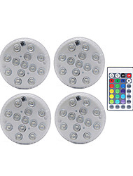 cheap -Underwater Submersible Light 4pcs 13 LEDs Remote Controlled RGB Submersible Light Battery Operated Underwater Night Lamp Outdoor Vase Bowl Garden Party Decoration 10 LEDs