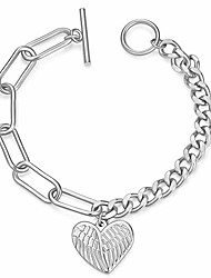 cheap -jieni stainless steel toggle clasp bracelet with angel wing charm for women girls rose gold (white)