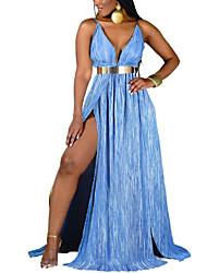 cheap -Women's Sheath Dress Maxi long Dress Blue Sleeveless Paisley Summer Sexy Loose 2021 S M L XL XXL