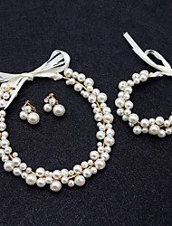 cheap -Romantic Sweet Alloy Headbands / Bracelet / Bangle / Headdress with Faux Pearl / Crystals / Rhinestones 1 set / 4 Pieces Wedding / Special Occasion Headpiece