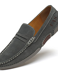 cheap -Men's Loafers & Slip-Ons Suede Shoes Comfort Shoes Driving Shoes Daily Leather Breathable Gray Khaki Summer