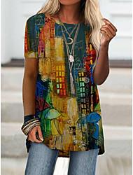 cheap -Women's T shirt Dress Color Block Print Round Neck Tops Basic Basic Top Rainbow