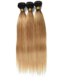 cheap -Ishow 2 Bundles Human Hair Weaves 8A Quality Color Straight Bar 1B27# Hair Curtain 100% Real Peruvian Wig 2 Pieces Combination Set 10-24 Inch