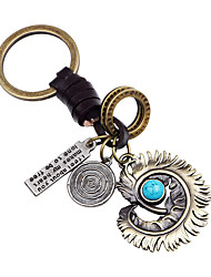 cheap -alloy feather retro car keychain, creative woven leather cord key ring