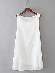 cheap -Women's Plus Size Tops T shirt Solid Color Sleeveless U Neck Light Blue light coffee White Big Size L XL 2XL 3XL