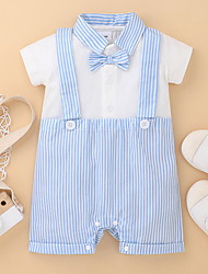 cheap -Baby Boys' Active Striped Bow Print Short Sleeves Romper Light Blue