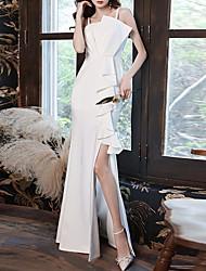 cheap -Mermaid / Trumpet Minimalist Elegant Engagement Formal Evening Dress Spaghetti Strap Sleeveless Floor Length Tulle Stretch Fabric with Draping Split 2021