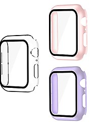 cheap -smiling 3 pack case compatible with apple watch series 6/se/series 5/series 4 40mm with built in tempered glass screen protector- all around hard pc case overall protective cover(clear/pink/purple)