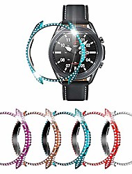 cheap -[5-pack] richone case compatible with samsung galaxy watch 3 41mm cover, full bling rhinestone diamonds bumper hard pc protector frame (red+purple+indigo+silver+mystic bronze, 41mm)