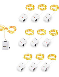 cheap -LED String Light 30pcs 10pcs 10LEDs Dimmable Copper Wire Fairy Lights Battery Powered LED String Lights Party Wedding Indoor Christmas Decoration Garland Lights