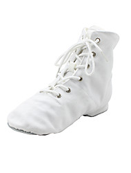 cheap -Women's Jazz Shoes Ballroom Shoes Dance Boots Boots Flat Heel Round Toe Red White Black Lace-up Adults' / Performance / Practice