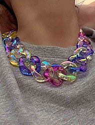 cheap -hip hop acrylic necklace chunky statement choker colored glaze crystal chain party costume jewelry for women and girls