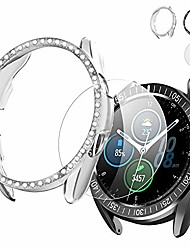 cheap -protector case for samsung galaxy watch 3 45mm bling diamond case,hd glass screen protector+stainless steel adhesive bezel ring protective cover-clear+black …