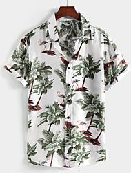 cheap -Men's Shirt Coconut Tree Button-Down Short Sleeve Street Tops Cotton Casual Hawaiian Comfortable White