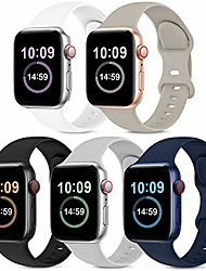 cheap -5 pack bands compatible with apple watch band 38mm 40mm 42mm 44mm, soft silicone sport replacement strap compatible with iwatch series 6 5 4 3 2 1 se women men stone/black/white/grey/navy blue