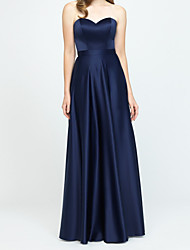 cheap -A-Line Strapless Floor Length Stretch Satin Bridesmaid Dress with Pleats