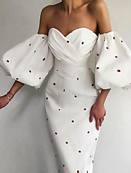 cheap -Sheath / Column Reformation Amante bodycon Engagement Formal Evening Dress Sweetheart Neckline Half Sleeve Ankle Length Spandex with Ruched Polka Dot 2021 / Puff Balloon Sleeve