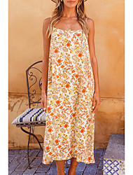 cheap -Women's Strap Dress Midi Dress Beige Sleeveless Floral Print Summer Square Neck Casual Holiday 2021 S M L XL