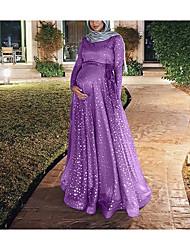cheap -Women's A Line Dress Maxi long Dress Golden Blue Purple Blushing Pink Black Long Sleeve Pattern All Seasons Casual 2021 S M L XL 2XL 3XL 4XL 5XL / Cotton / Cotton
