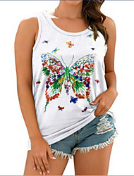 cheap -Women's Tank Top T shirt Butterfly Round Neck Tops White