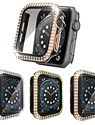 cheap -3 pack compatible with apple watch series 3/2/1 case 38mm with built-in tempered glass screen protector bling crystal diamonds hard pc cover rhinestone bumper protective frame for iwatch 38mm