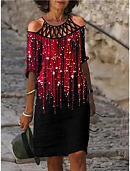 cheap -Women's A Line Dress Knee Length Dress Blue Purple Green Dark Purple Red Long Sleeve Pattern Summer Casual 2021 S M L XL XXL 3XL 4XL 5XL / Cotton / Cotton