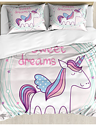 cheap -3-Piece Duvet Cover Set Hotel Bedding Sets Comforter Cover with Soft Lightweight Microfiber Unicorn Include 1 Duvet Cover 2 Pillowcases for Double/Queen/King(1 Pillowcase for Twin/Single)