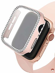 cheap -Smart watch Case compatible with apple watch case 44mm with toughened glass screen protection film bling crystal diamond shiny rhinestone hard pc bumper apple watch series 6/se/5/4(rose gold)
