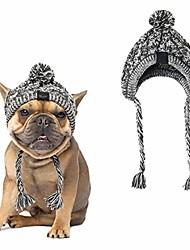 cheap -dog pom pom hat,winter warm knit cap for dogs,cute fashion dog beanie hat pet headwear costume accessory, small medium dogs french bulldog (l)