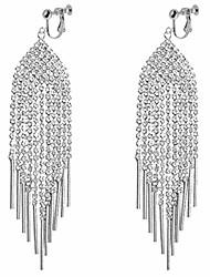 cheap -waterfall clip on dangle earrings for women girls chandelier drop boho tassel cz vertical bar fringe