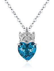 cheap -crown love pendant necklace female purple rose red blue diamond crown diamond heart pendant fashion jewelry