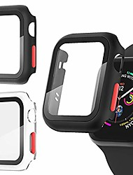 cheap -Smart watch Case 2pc all around tempered glass screen protector integral case compatible with apple watch se/5/6/4/3/2 overall protective cover for iwatch 38mm 40mm 42mm 44mm women men