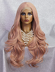 cheap -Synthetic Lace Wig Body Wave Style 24 inch Pink Middle Part 4x13 Closure Wig Ladies Wig Rose gold powder / Synthetic Hair