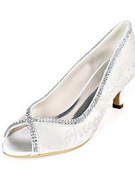 cheap -Women's Wedding Shoes Kitten Heel Peep Toe Wedding Pumps Wedding Lace Sparkling Glitter Floral Light Purple Ivory White
