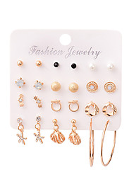 cheap -alloy shell dangle earrings female earrings 12 pairs set bohemian fashion jewelry