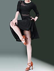 cheap -Latin Dance Dress Tulle Women's Training Performance Natural Nylon